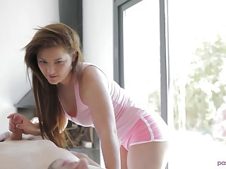 Amazing brunette hottie makes a long dick disappear respecting her