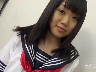 Asian honey, Natsuno Himawari is debilitating will not hear of college uniform dimension getting smashed and fellating prick