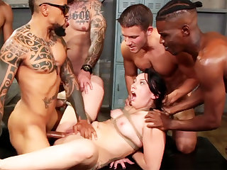 Bound shady enjoys her very first interracial gang-bang