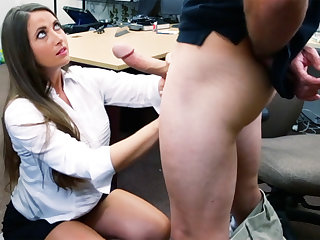 Safe-breaker brunette gets fucked in the back of a nonentity shop