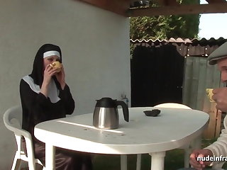 Young french nun sodomized about trinity with Papy Voyeur