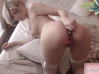 Hot Sexy Blonde Playing Relative to Herself
