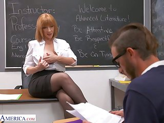 Perfectly shaped busty instructor Sara Jay seduces one of the students