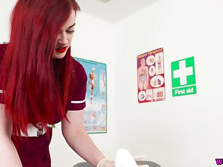 Red haired busty nurse in uniform Jaye Serrate sucks and jerks off hard penis