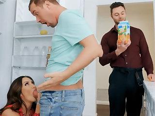 Wife's heavy tits seduced nanny to fuck hardcore