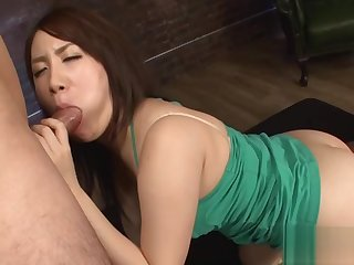 Blowjob from Asian babe in upskirt