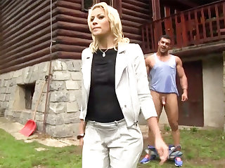 Hard-Core outdoors lovemaking forth a half-nude European ultra-cutie