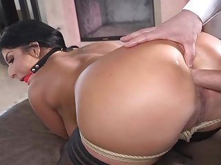 Tied up babe in arms gets long dick up say no to ass