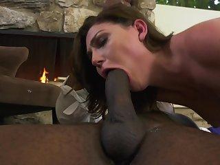 Jessica Rex has interracial sex action at fireplace