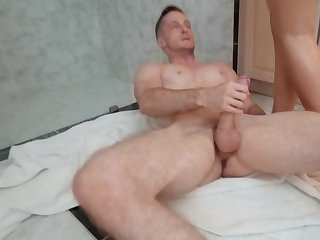 Hot Spanish fair-haired thanks plumber by cock riding in the bathroom