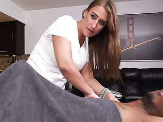 Curvy brunette masseuse gets wrecked wits a big black dick