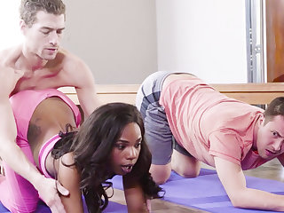 Horny black babe fucks her yoga motor coach and her buddy