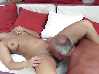 A sexy slut with a big butt is fucked by an aged dude really well