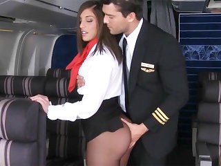 Pilot seduced domestic servant nigh fuck in airplane