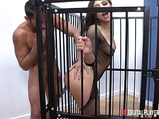 Big arse Abella penetrated hardcore doggystyle in cage
