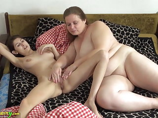 OldNanny Old and young woman shellacking and toying