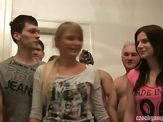GIRLFRIEND AND HER Angel of mercy GET FUCKED AT CZECH GANG BANG