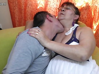 Real venerable granny sucking a firm young cock