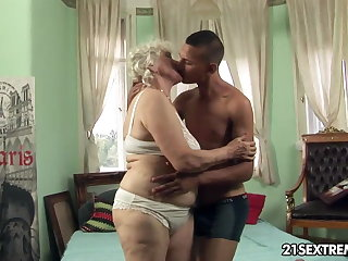 Granny Norma takes young boy's unending cock