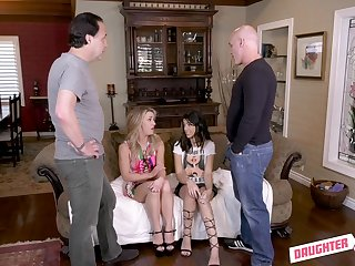 Hardcore foursome with cumshots be incumbent on Kate Kennedy and Harmony Wonder