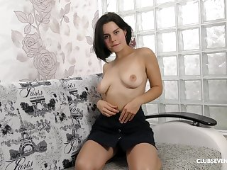 Horny generalized Ole Nina wants to filled her hairy and wett pussy with big toy