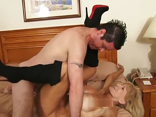 Skinny granny on touching boots fucks a young