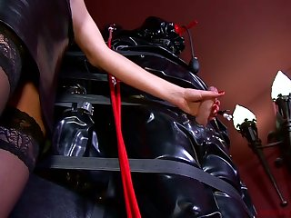 Lady Patricia and kinky mistress punish fated up coxcomb with endless handjob