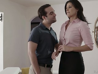 Zealous brunette India Summer blows fat cock and gets twat drilled