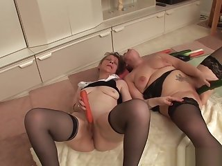 Two grandmas play with a cock & each successive