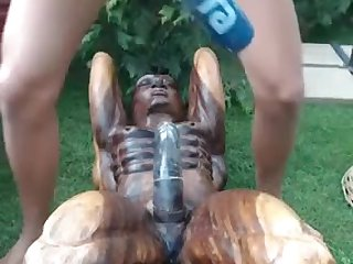 Amateurs dusky hair girl rides make an issue of wooden statue