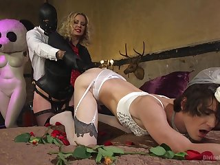 Male consequent dressed in a bride dress, insane anal with his mistress