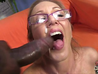 Interracial threesome anent ugly elderly mom taking 2 BBC with an increment of facial cumshots