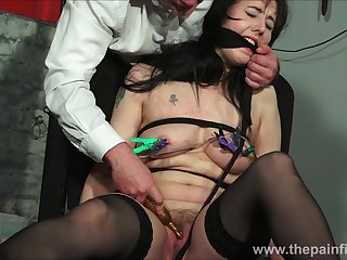 Bound and gagged Directness Calliaro nipple clamps