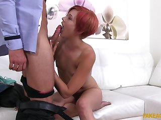 Czech redhead girl Lucie spreads her legs and gets penetrated