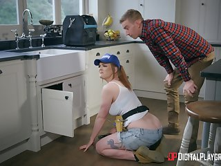 Redhead chick Carly Rae fixes his plumbing with her soiled pussy