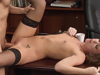 Secretary gets an obstacle dick in an obstacle pussy plus sperm on will not hear of pithy tits