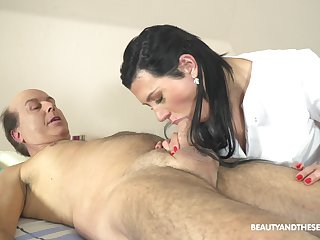 Czech massage skirt Adelle Sabelle gets intimate with team a few aged client
