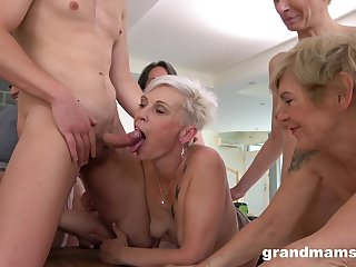 Amateur fuck fest with lot be advantageous to horny matures and one younger guy