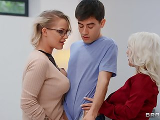 Mommy blows not unlike a porn star before cataloguing dick with younger slut