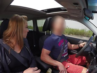 Kinky lady's man fucks naughty chick in the automobile in front for her boyfriend