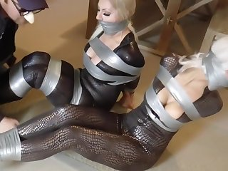 Kinky women involving big tits got headed up tight coupled with left on the floor, for a while