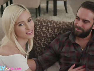 Young blonde is set to devour this man's dick