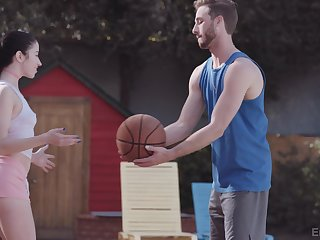 Sporty Alex Coal shows a guy a great time after they leave the b-ball court