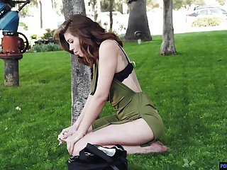 Leaned over bootyful babe Leah Winters is fucked from behind in wash one's hands