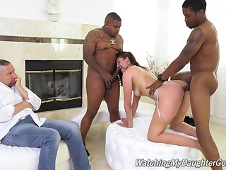 Cuckold watches Bella Rolland get done good wits two black studs