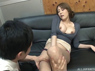 Underhanded Japanese Akari Asagiri teases in public and gets fucked