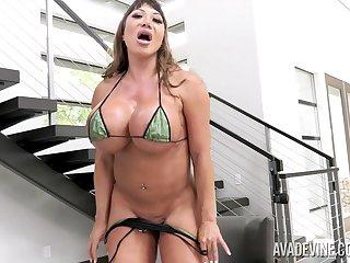 OG Asian MILF with humongous tits riding a huge black dildo