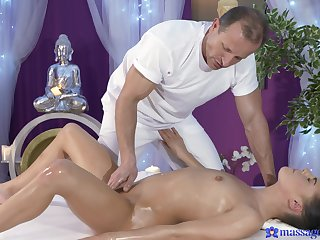 Erotic massage coils seductive steamy more willingly than an obstacle babe feels an obstacle cock in her hands