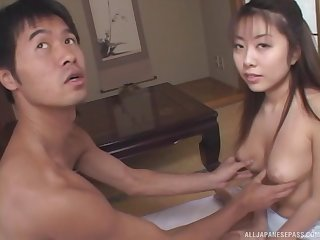 Topless Japanese girlfriend Miho Anzai knows how to pleasure a dick