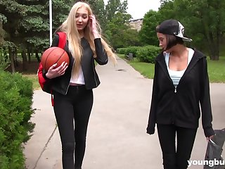 Slim amateur girls are set almost share intimate moments in a difficulty parkland
